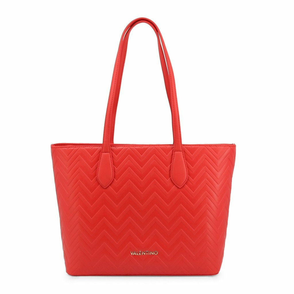 Red Shopping Bag with Zip Fastening and Two Handles