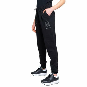 Black Cotton Trousers with Print Pattern