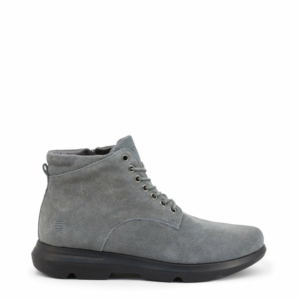 Gray Suede Ankle Boots with Laces and Zip