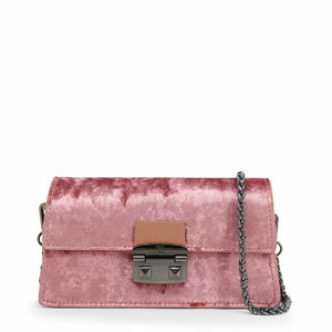 Pink clip fastened clutch bag with removale shoulder strap and logo details