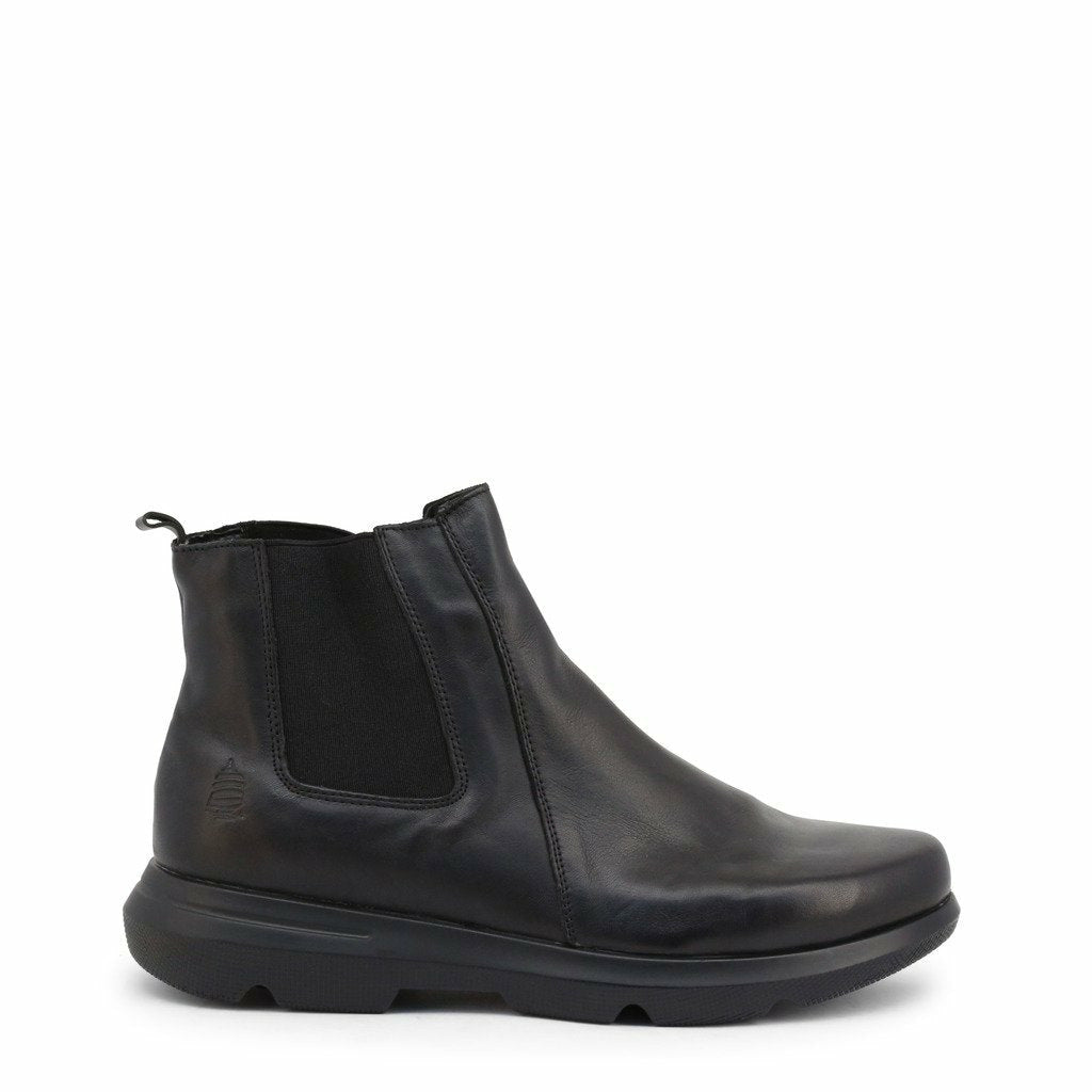 Black Leather Ankle Boots with Laces and Zip