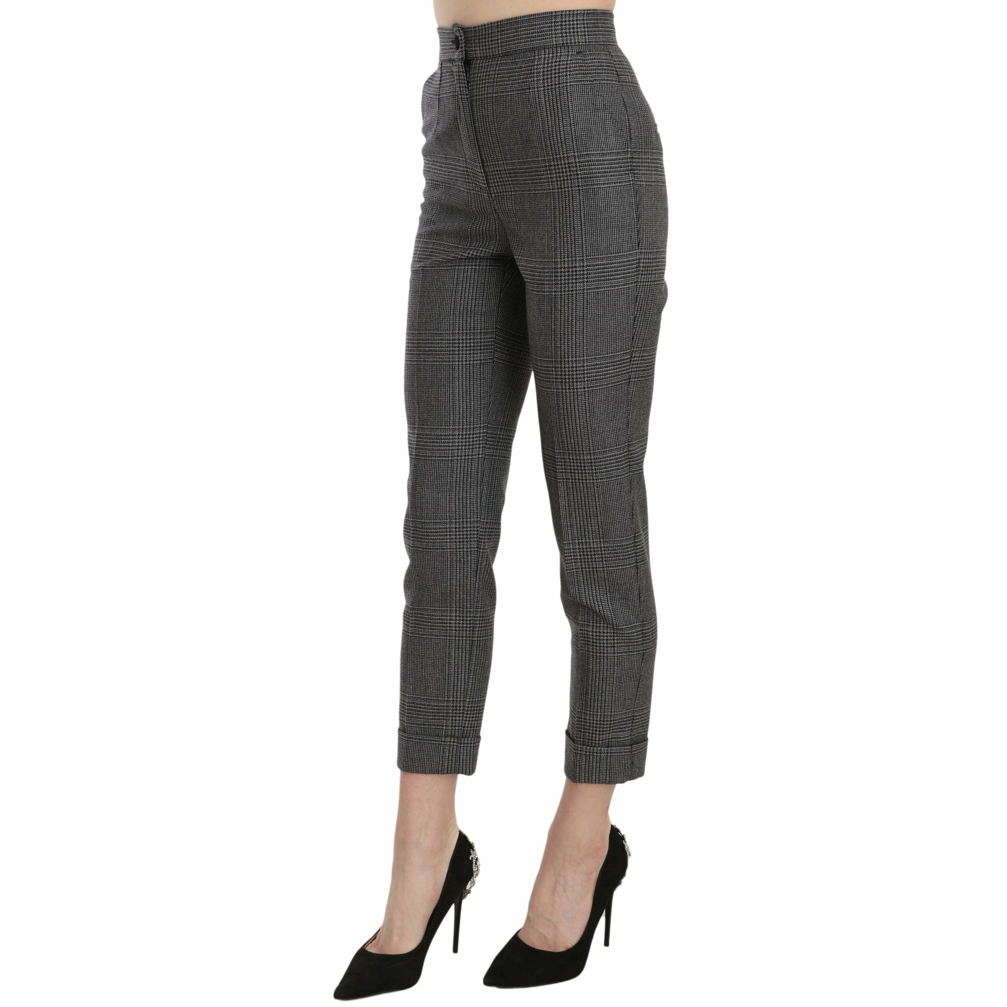 Black Mid Waist Skinny Denim Cotton Jeans