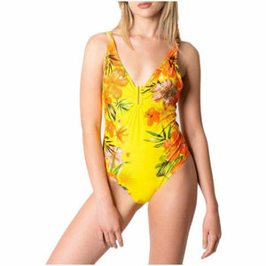 Yellow slip on fastened beachwear with floral pattern