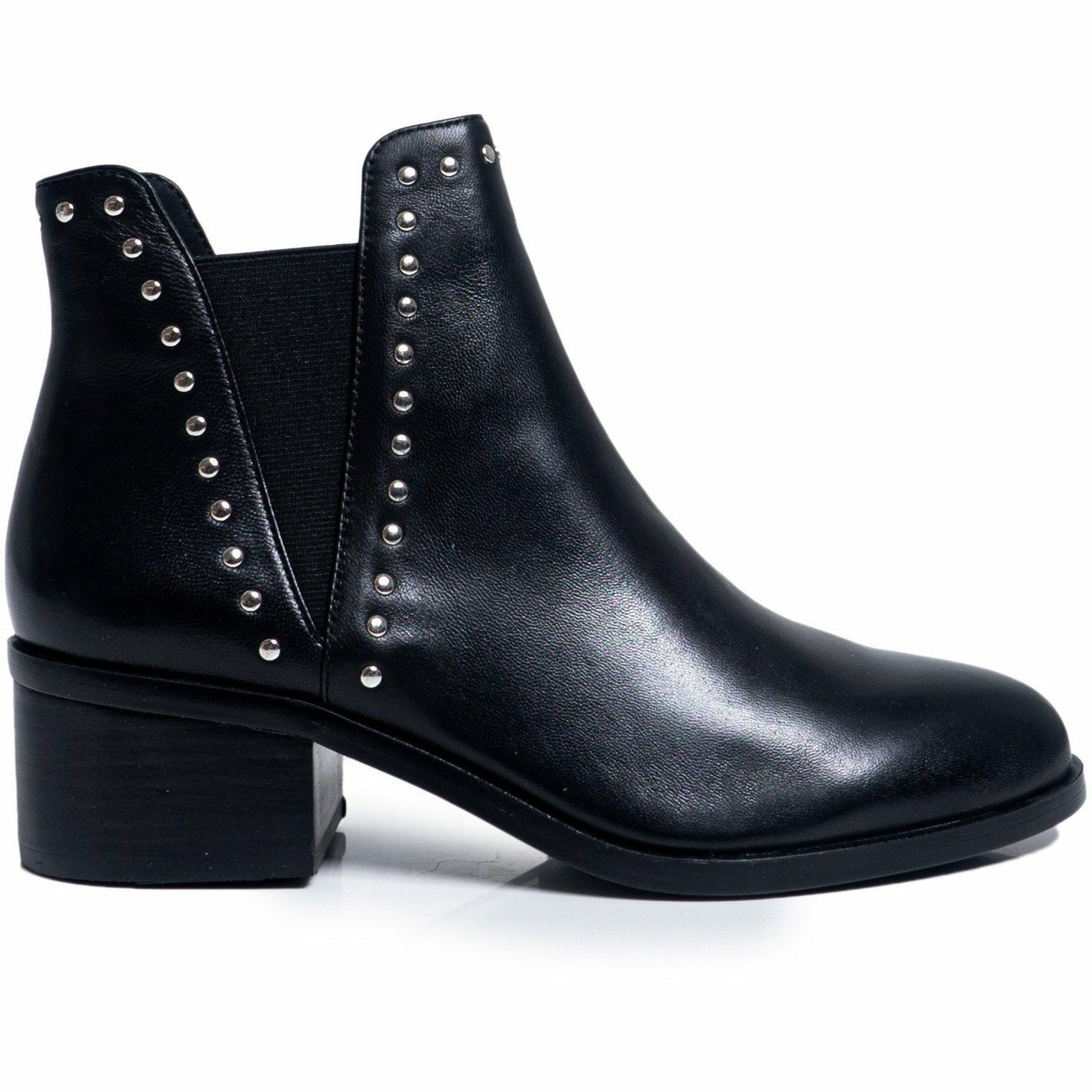 Black Leather Block Heel Ankle Boots