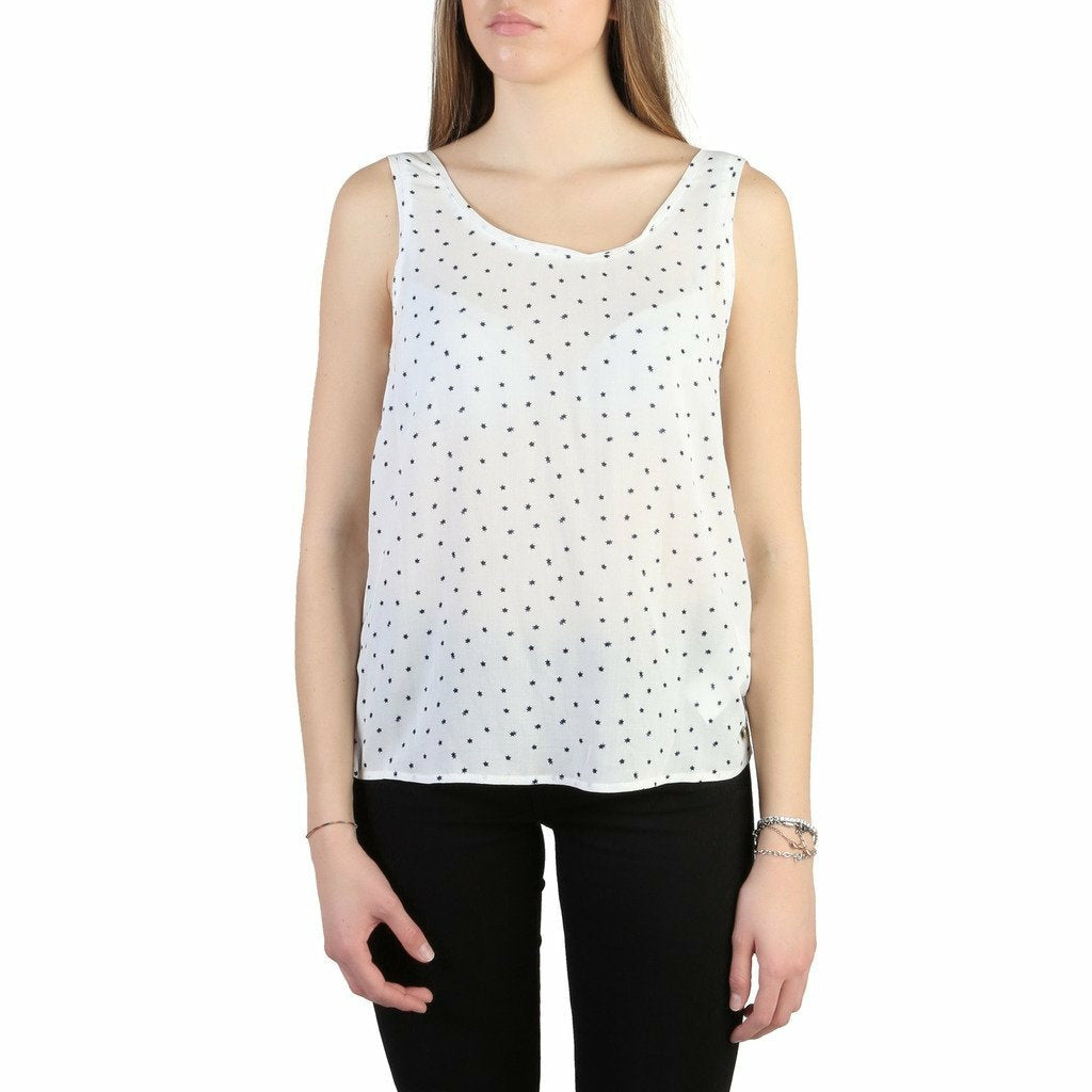 White Viscose Sleeveless T-Shirt