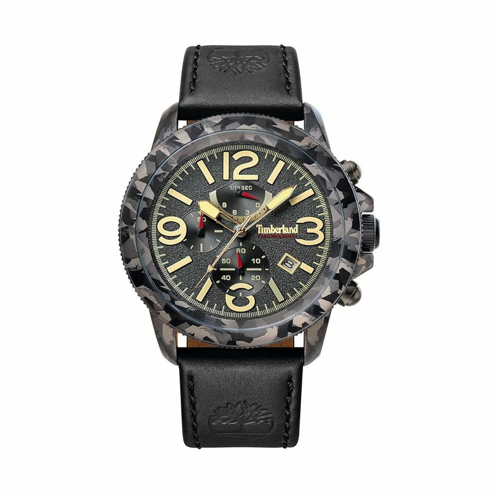 Black Leather Strap 44mm Watch