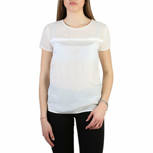 White Viscose and Silk Plain Pattern T-Shirt