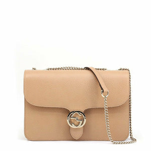 Brown Leather Metallic Fastening Crossbody Bag