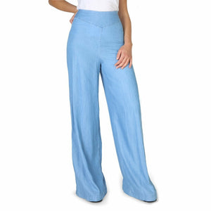 Blue Fibres Trousers with Side Zip Fastening