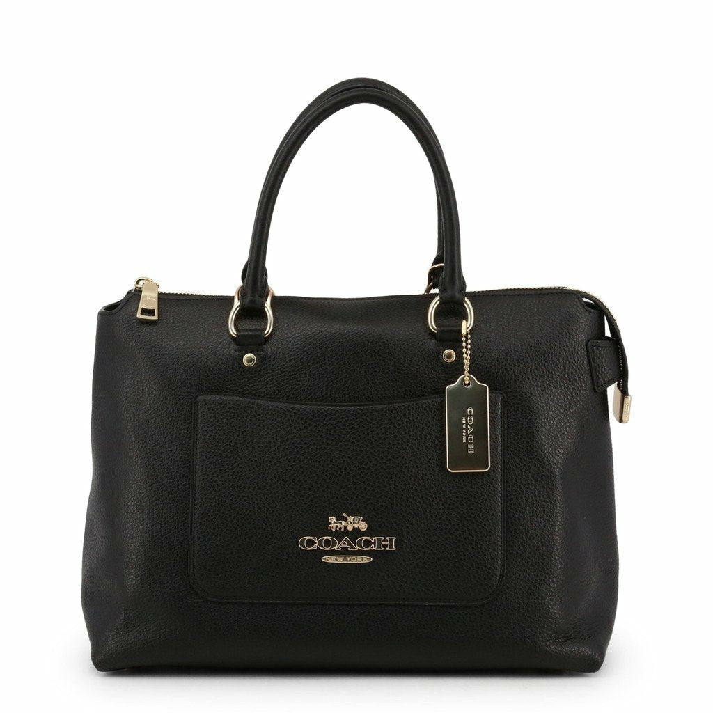 Black Leather Zip Handbag