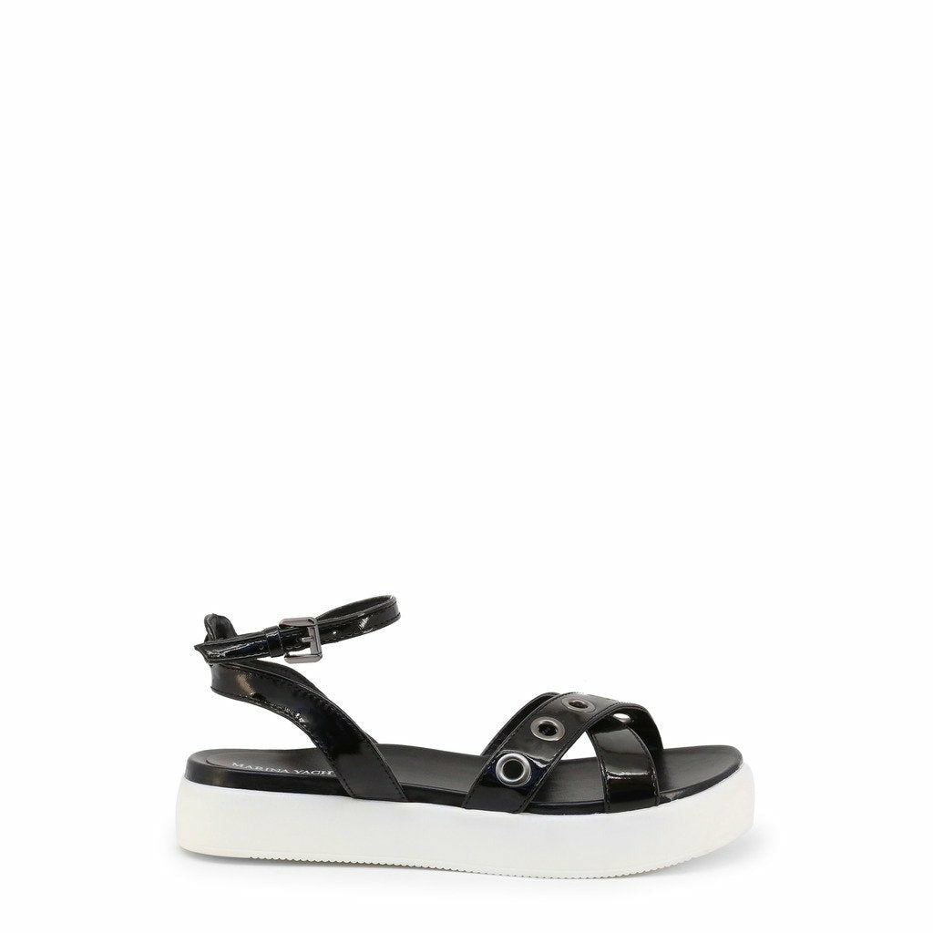 Black Leather Sandals with Platform
