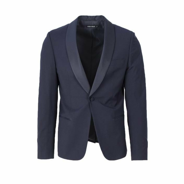 Blue Button Fastening Blazer with Lapel Collar
