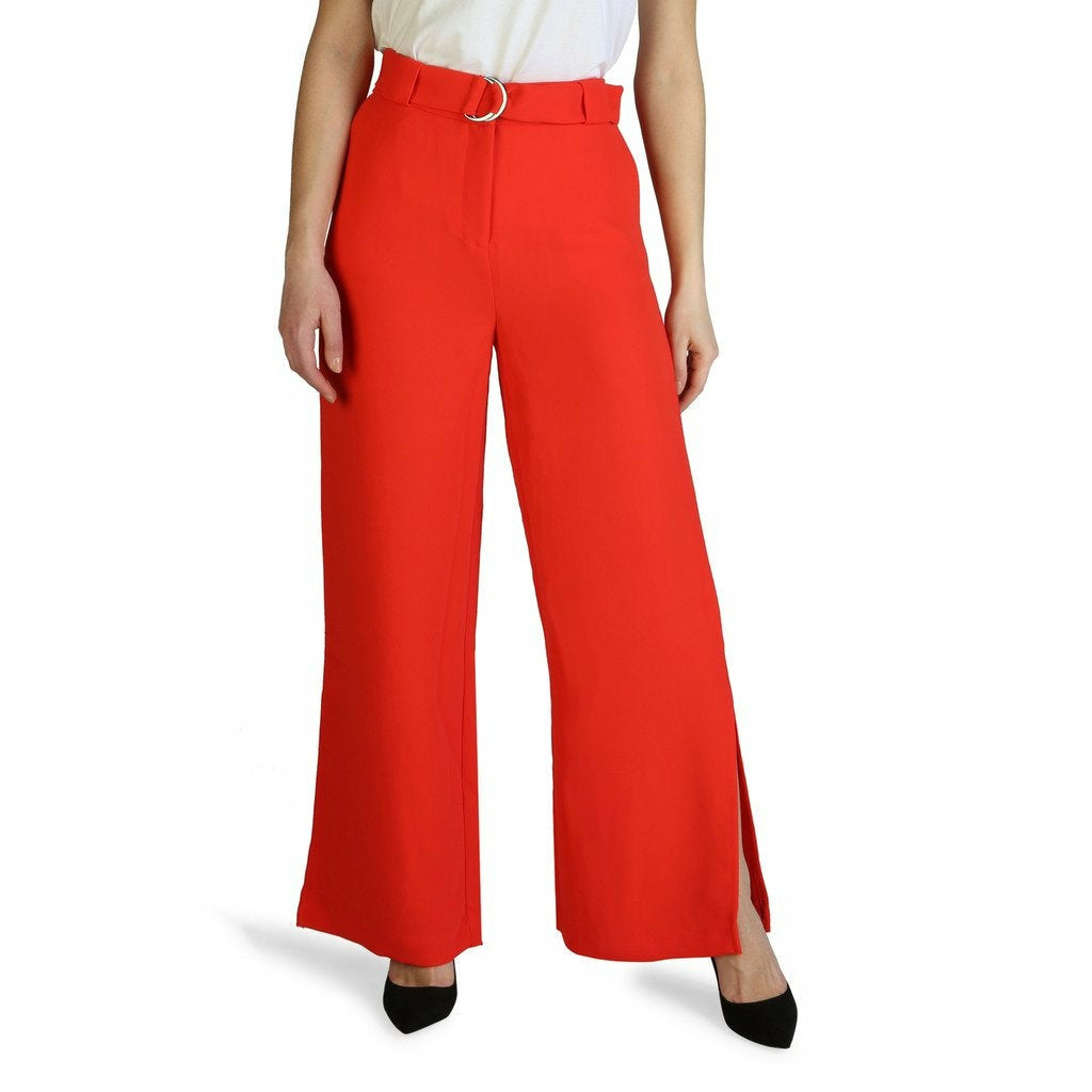 Red Zip and Belt Fastening Trousers
