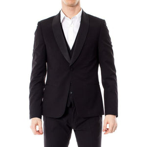 Black Button Fastening Blazer with Lapel Collar