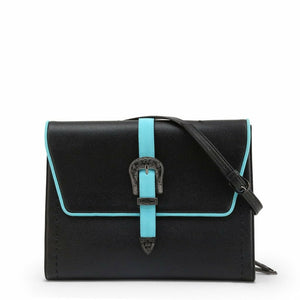 Black magnetic fastened clutch bag with removale shoulder strap and logo details