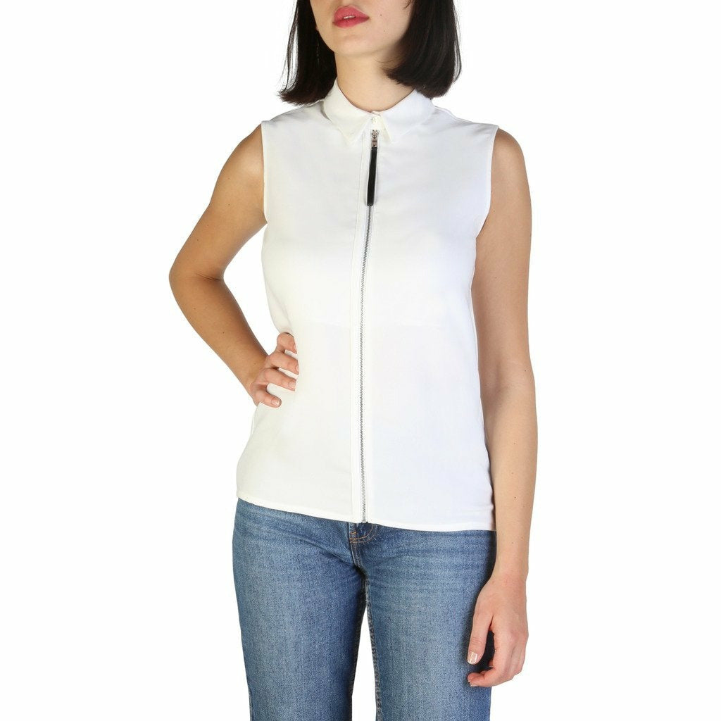 White Polyester Sleeveless Shirt with Round Neckline