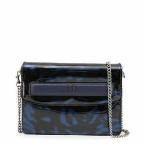 Blue magnetic fastened clutch bag with removale shoulder strap and logo details