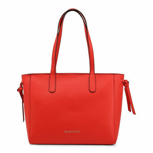 Red Shoulder Bag with Two Handles and Zip Fastening