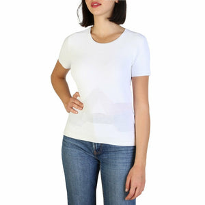 White Viscose and Polyamide Plain Pattern T-Shirt