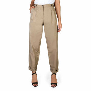 Brown Cotton Trousers with Buttons and Zip Fastening