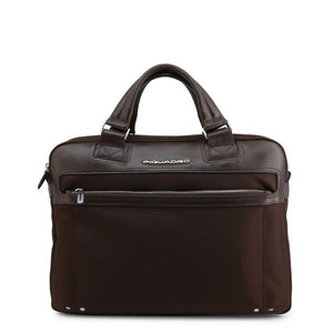 Brown Leather Briefcase with Shoulder Strap and Visible Logo