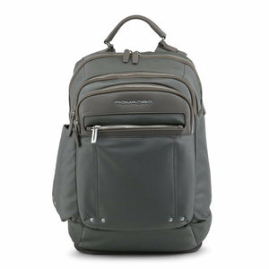 Grey Leather Backpack with Visible Logo