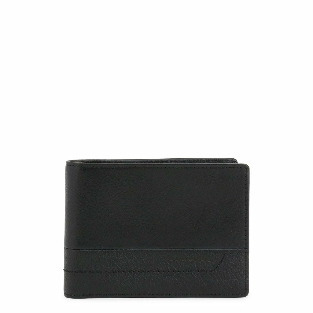 Black Leather Wallet with Visible Logo