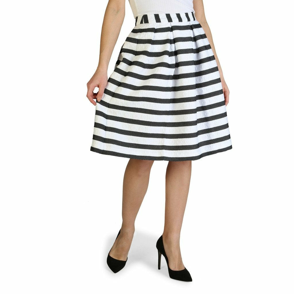 Black and White Striped Pattern Skirt