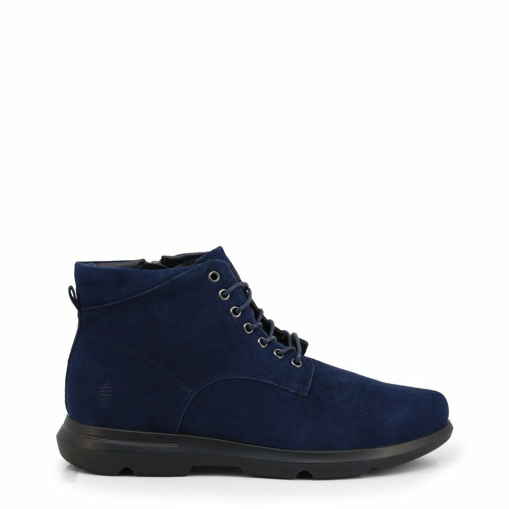 Blue Suede Ankle Boots with Laces and Zip