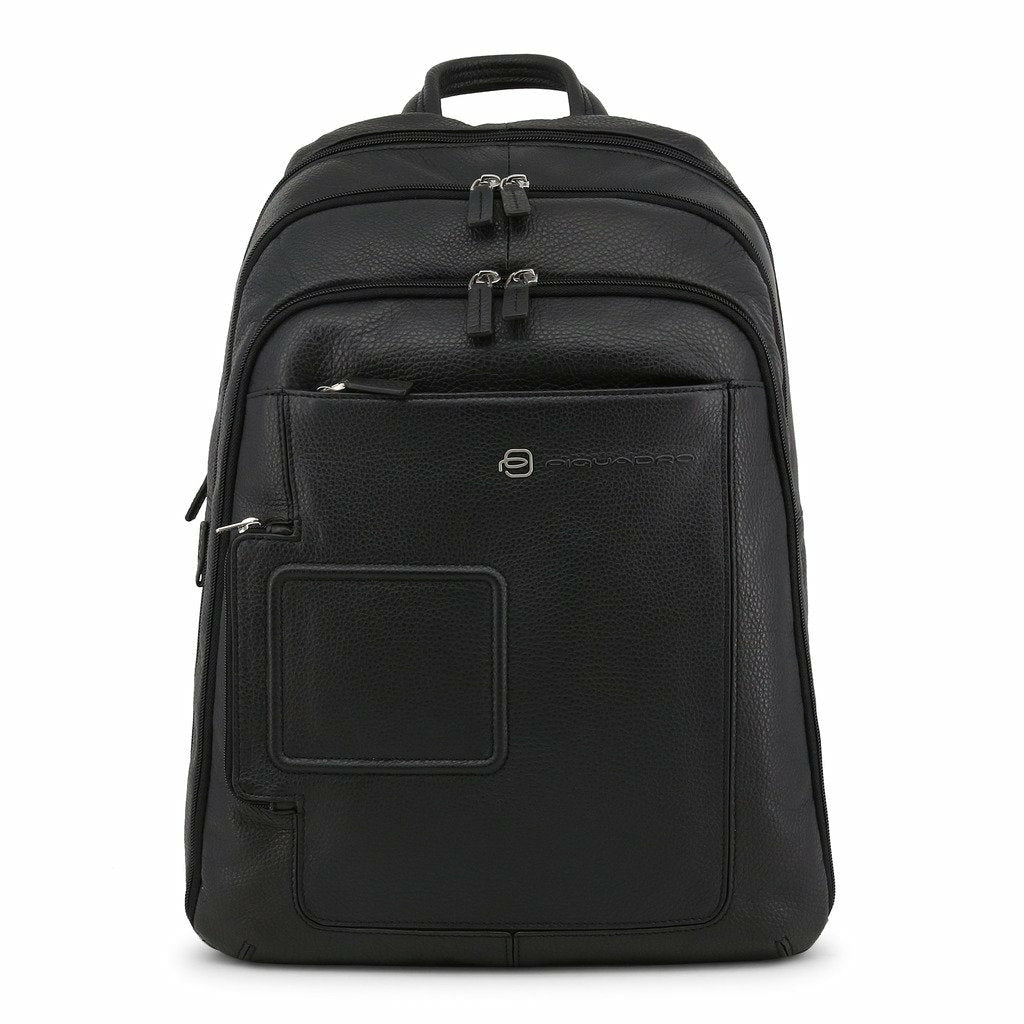 Black Leather Backpack with Trolley Fitting Strap