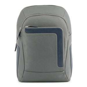 Grey Leather Backpack with Trolley Fitting Strap