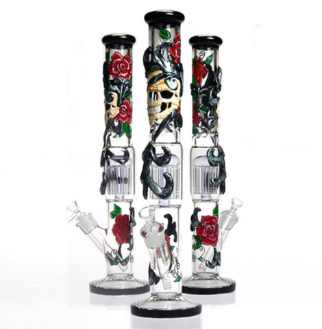 "18"" 5mm 3D Art Rose-Skull Straight Tube Water Pipe"