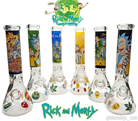 "14"" NEW! Rick And Morty 7mm Thick Beaker Water Pipe"