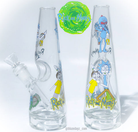 "8"" Rick And Morty 5mm Water Pipe Beaker Exclusive!"