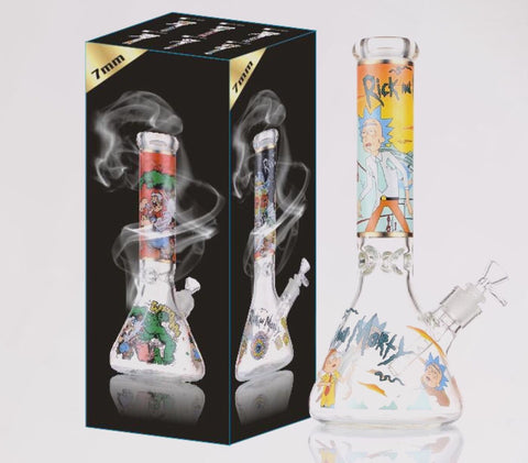 "14"" Rick And Morty 7mm Water Pipe Kit & Packaging U.S. Stock!"