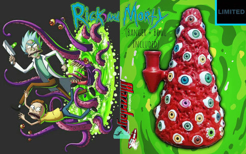 "8"" Rick And Morty Water Pipe Bong (Dimension Kit) Banger + Bowl Stoner Bundle!"