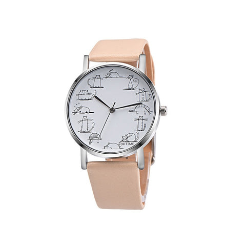 Cartoon Cat Leather Quartz Analog Women Watch - Prime Printing by MSM