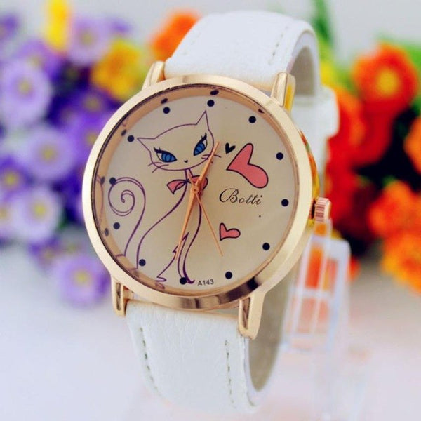 Pink Cat - Faux Leather Strap Band Analog Quartz Wrist Watch - Prime Printing by MSM