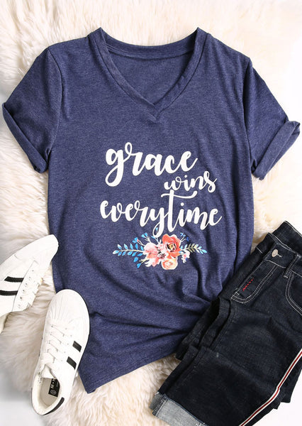 Grace Wins Everytime Letter Flower Print t shirt - Prime Printing by MSM