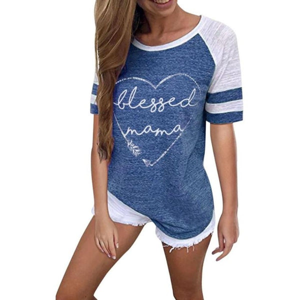Blessed Mama Letter Stripe Patchwork T-Shirt - Prime Printing by MSM