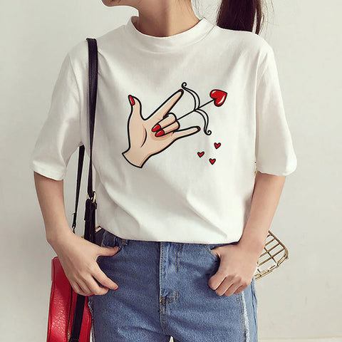 Cartoon Love Heart Print Tee