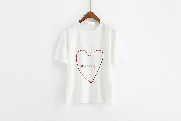 Loving Heart Embroidery Letters T-shirt - Prime Printing by MSM