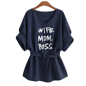 Wife, MOM, Boss Kimono Print T-Shirt - Prime Printing by MSM