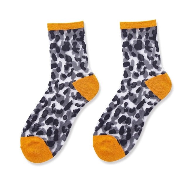 Orange Pop Leopard Socks