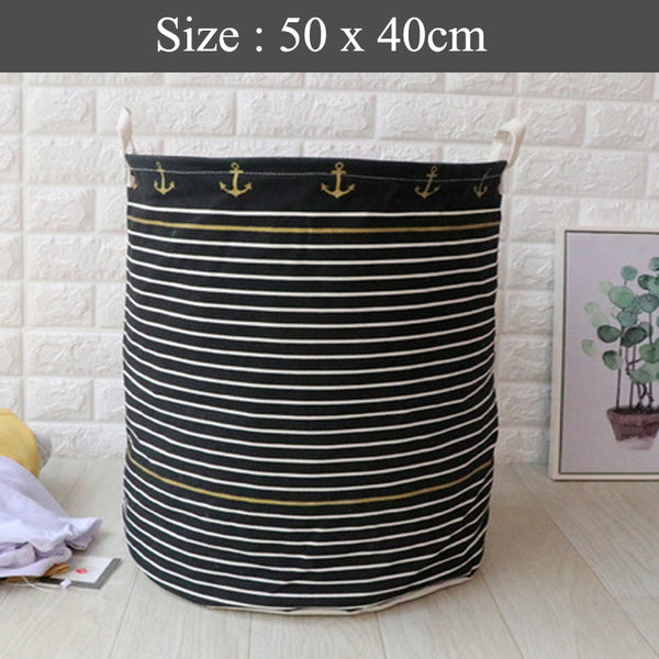 Foldable Laundry Basket - Design Anchor Black