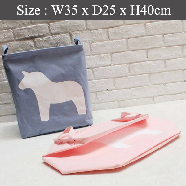 Foldable Laundry Basket - Dark Blue Horse