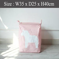 Foldable Laundry Basket - Pink Horse