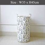 Drawstring Laundry Basket - Design Anchor Print