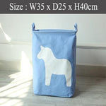 Foldable Laundry Basket - Blue Horse