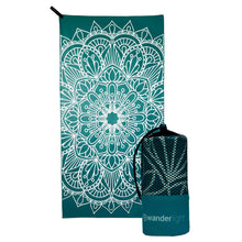 Load image into Gallery viewer, teal towel with large white mandala print, hang loop on upper left corner and branded teal carrying pouch